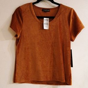Zumiez Almost Famous ribbed velvet material top.